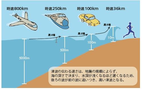 津波 高さ 距離 速さ
